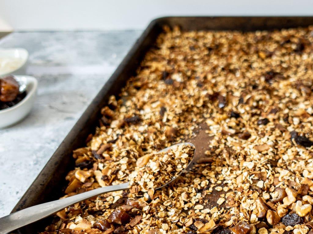 Pan of freshly baked granola