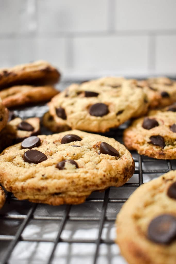 Close up shot of espresso chocolate chip cookies