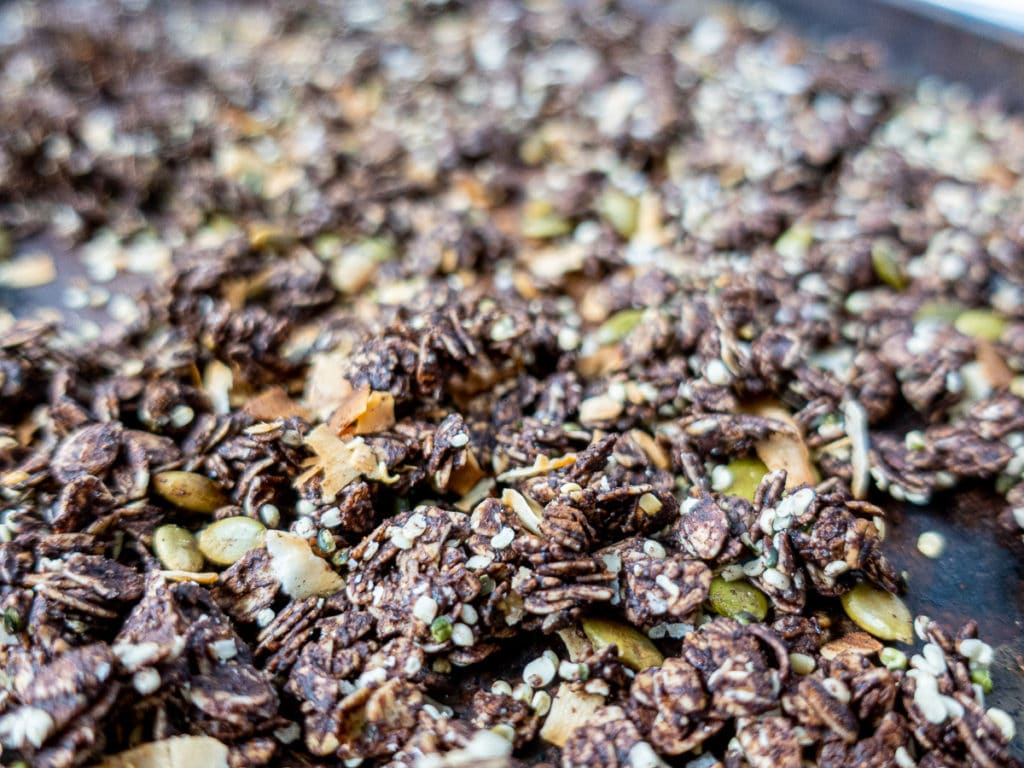 close up shot of granola