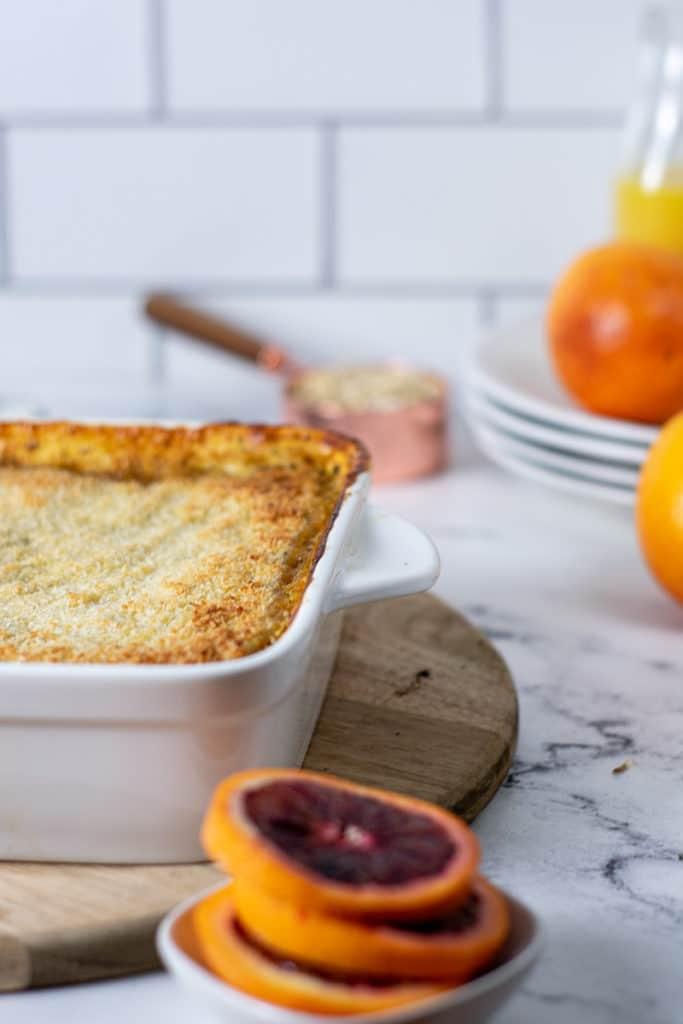 Pan of baked orange poppyseed oatmeal.