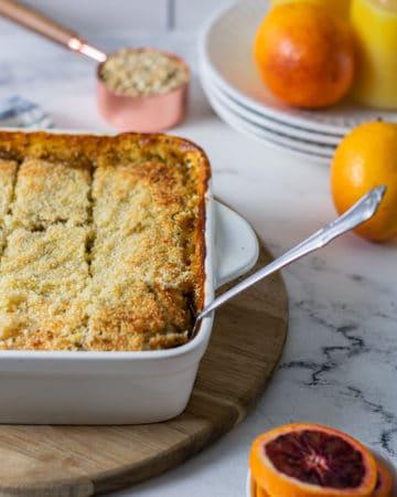 Pan of orange poppyseed baked oatmeal