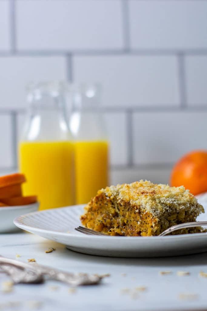 Slice of orange poppyseed baked oatmeal.