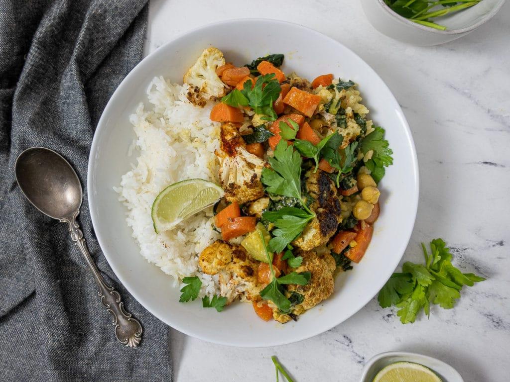 Bowl of roasted cauliflower curry