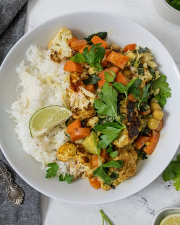 Bowl of roasted cauliflower curry