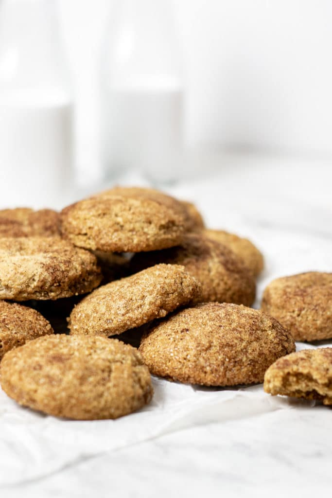 Close up of snickerdoodles cooling