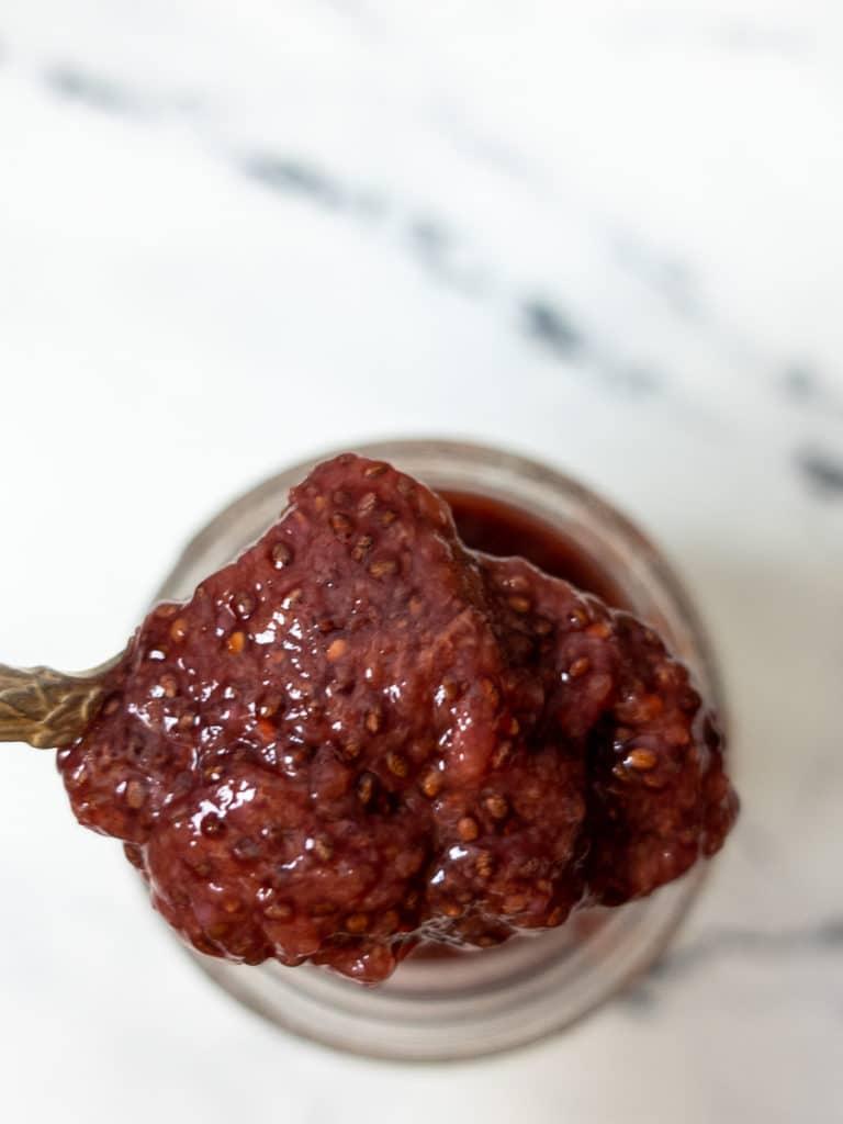 Close up shot of cherry chia jam