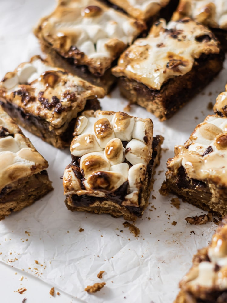 Freshly bakes batch of smores bars