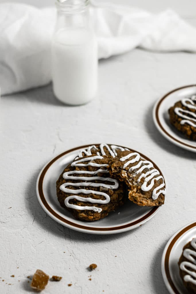 Plates of cookies and milk