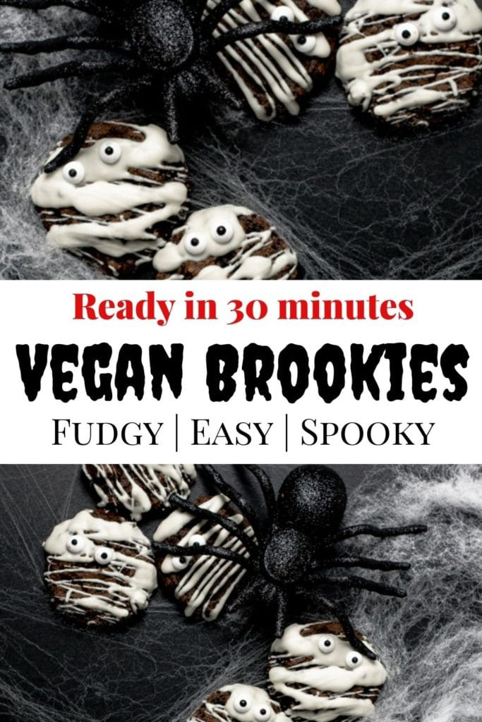 Pinterest pin for the vegan brookies with spiders and spooky mummy cookies