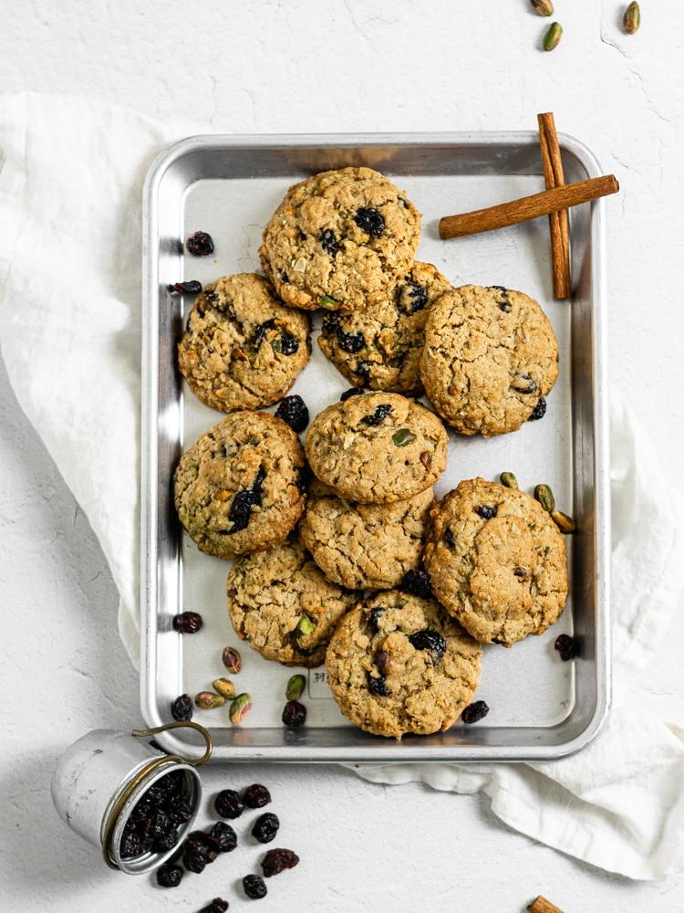 flatlay of oatmeal cookies on a baking sheet