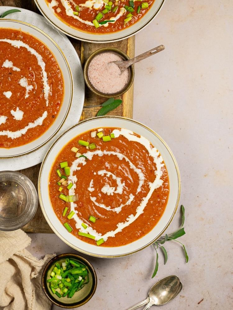 close up shot of creamy cauliflower soup