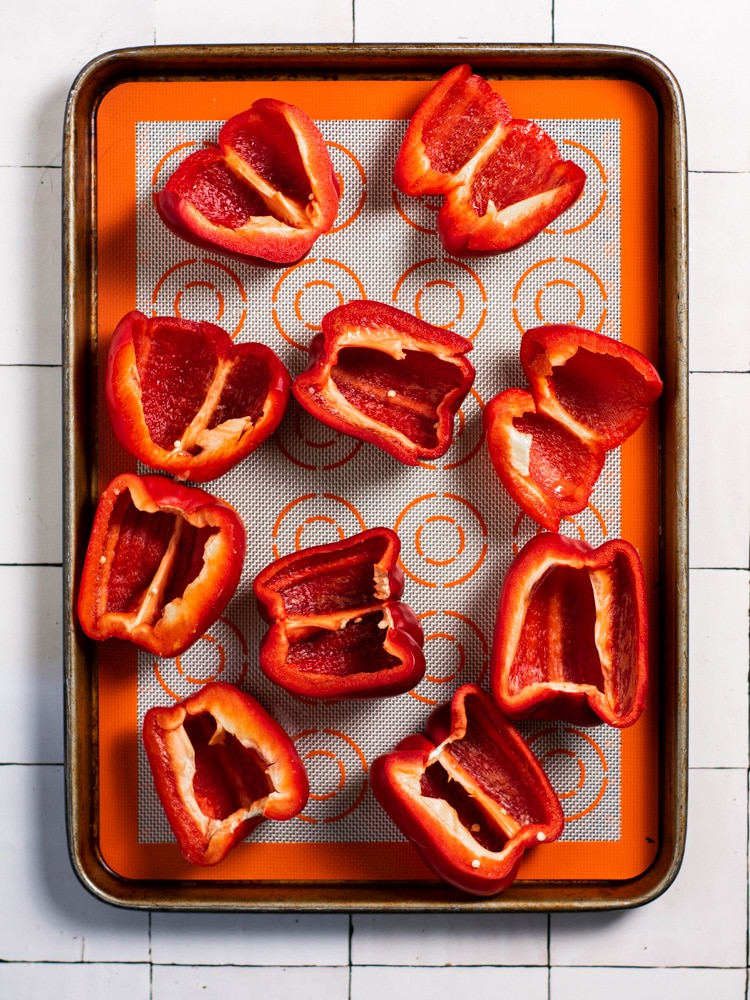 Sliced red peppers before roasting.