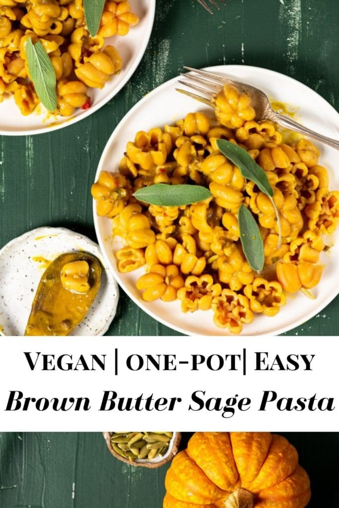 Pinterest pin for vegan brown butter pasta with sage and pumpkin.