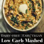 pin for pinterest of vegan mashed cauliflower potatoes