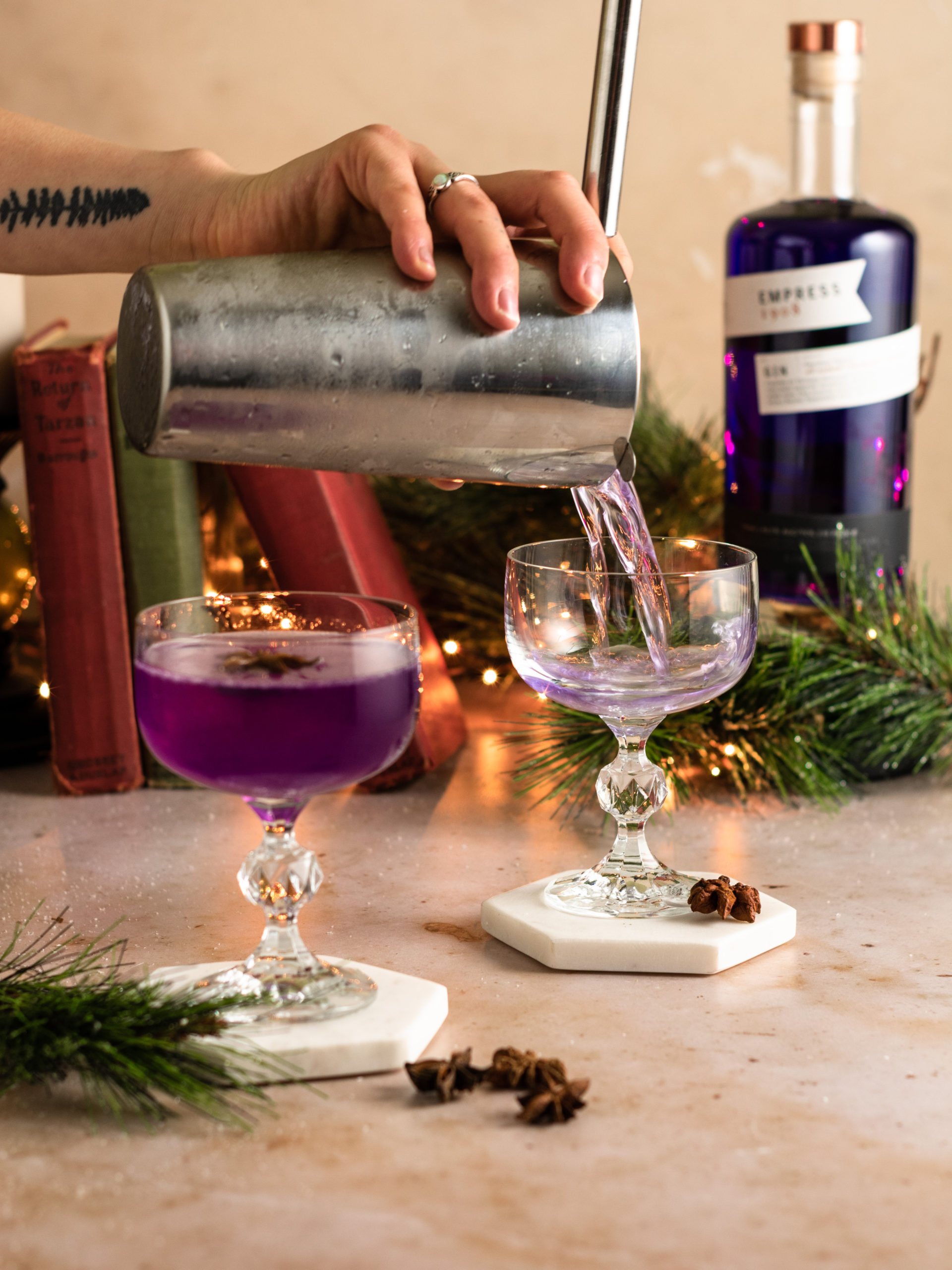 Pouring holiday gin cocktails from the shaker