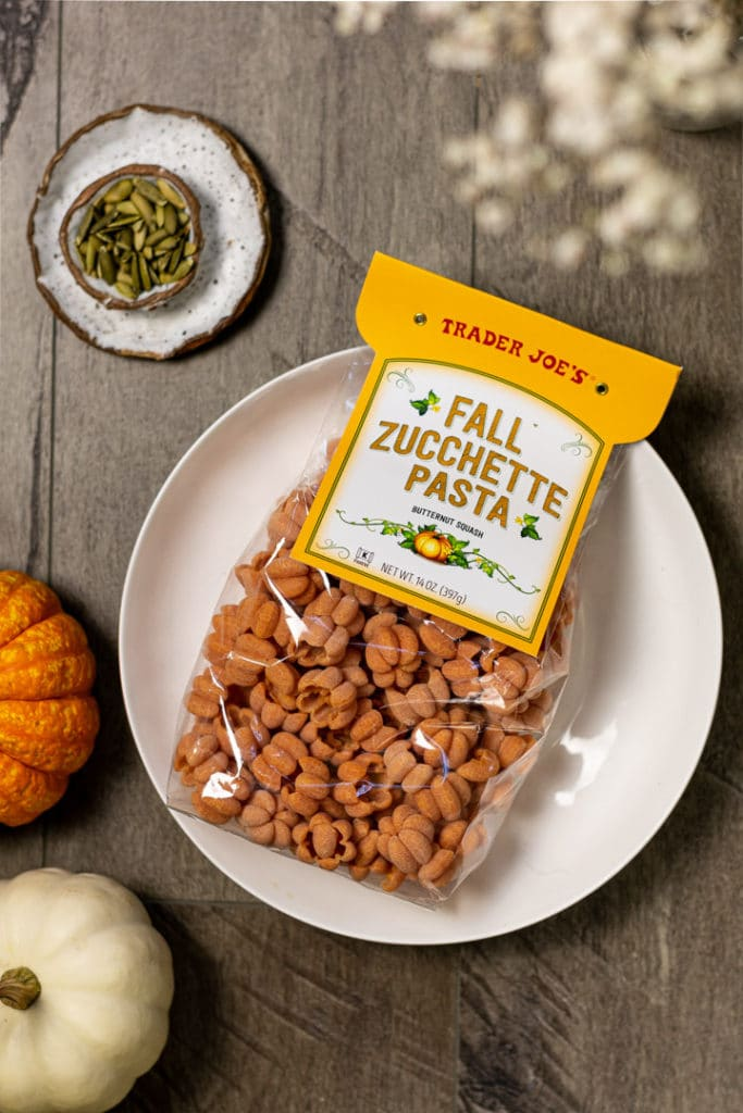 Fall zucchette pasta shaped like pumpkins.