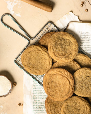 Freshly baked brown sugar cookis cooling on a cooling rack!