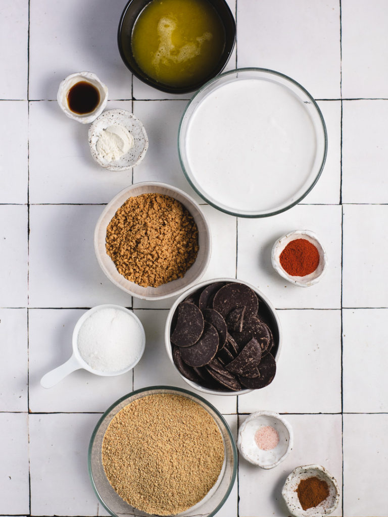 Ingredients to make mexican chilli chocolate tart.