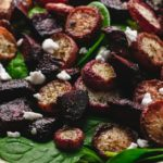 pinterest pin of roasted radishes and beets