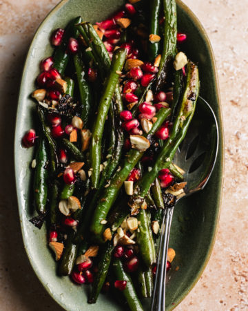 Plate of finished green beans