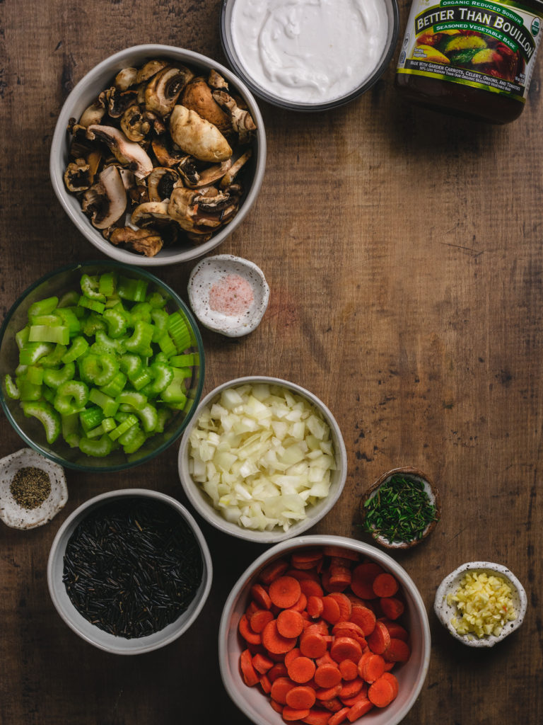 incredients for wild rice mushroom soup