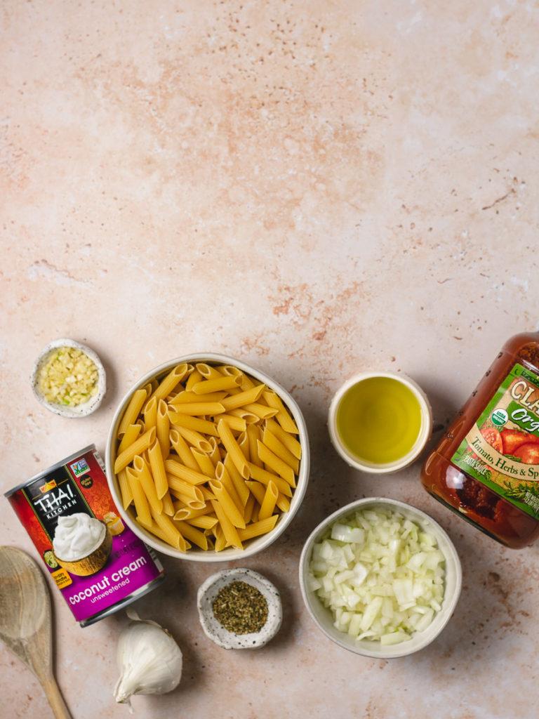 Ingredients to make vegan vodka pasta.
