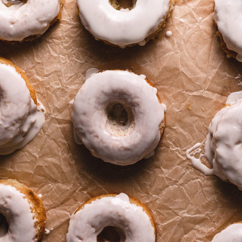 Over head shot of vanilla glazed donuts