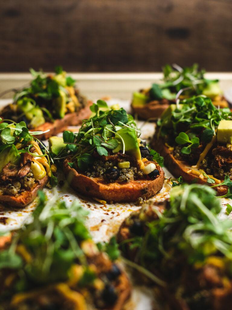 close up of microgreens on top of sweet potato sliders!