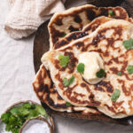 Sourdough discard naan with butter