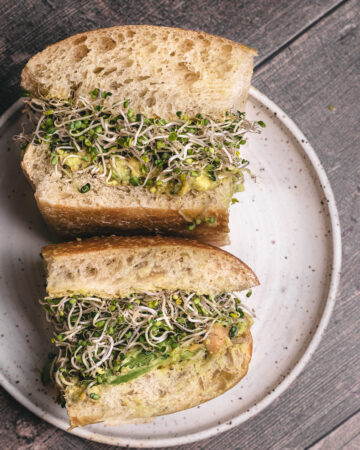 sprouts and smashed chickpea sandwich